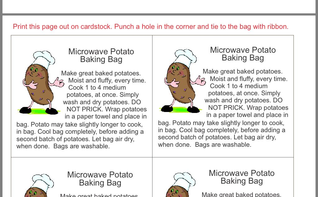 microwave potato bag sewing projects