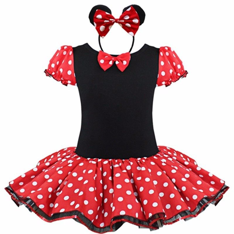 Toddler Baby Girl Minnie Mouse Bow Dots Tutu Dress Ear Headband Costume Outfits