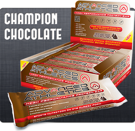 Champion Chocolate from Advanced Athletics is a new bar on the market that is low sugar with 20 grams of bio-active protein.