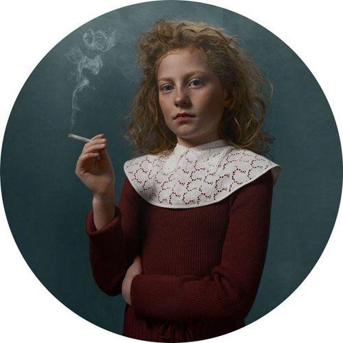 """Smoking Kids"", portraits by photographer Frieke Janssens."