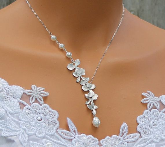 Orchid Necklace Pearl Necklace Silver Orchids Wedding