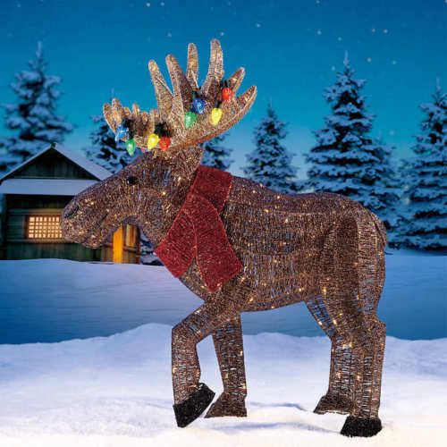 Christmas Lighted Moose 234 White Led Lights Outdoor Yard Stakes Decoration Red