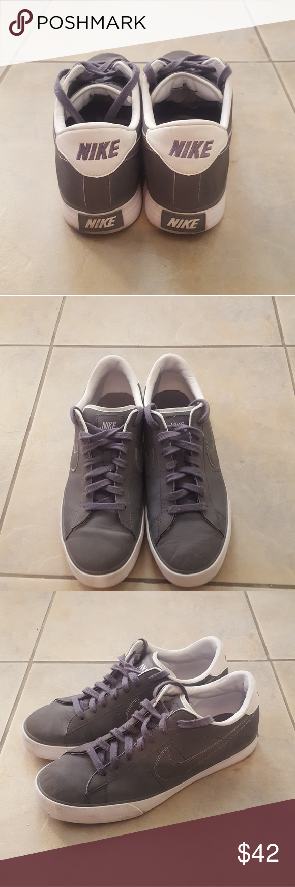 Nike Sweet Classic Mens Shoes 10.5 Swede gray with white trim Genuine  leather sneakers Barely worn Very good condition Nike Shoes Sneakers ffd049b41