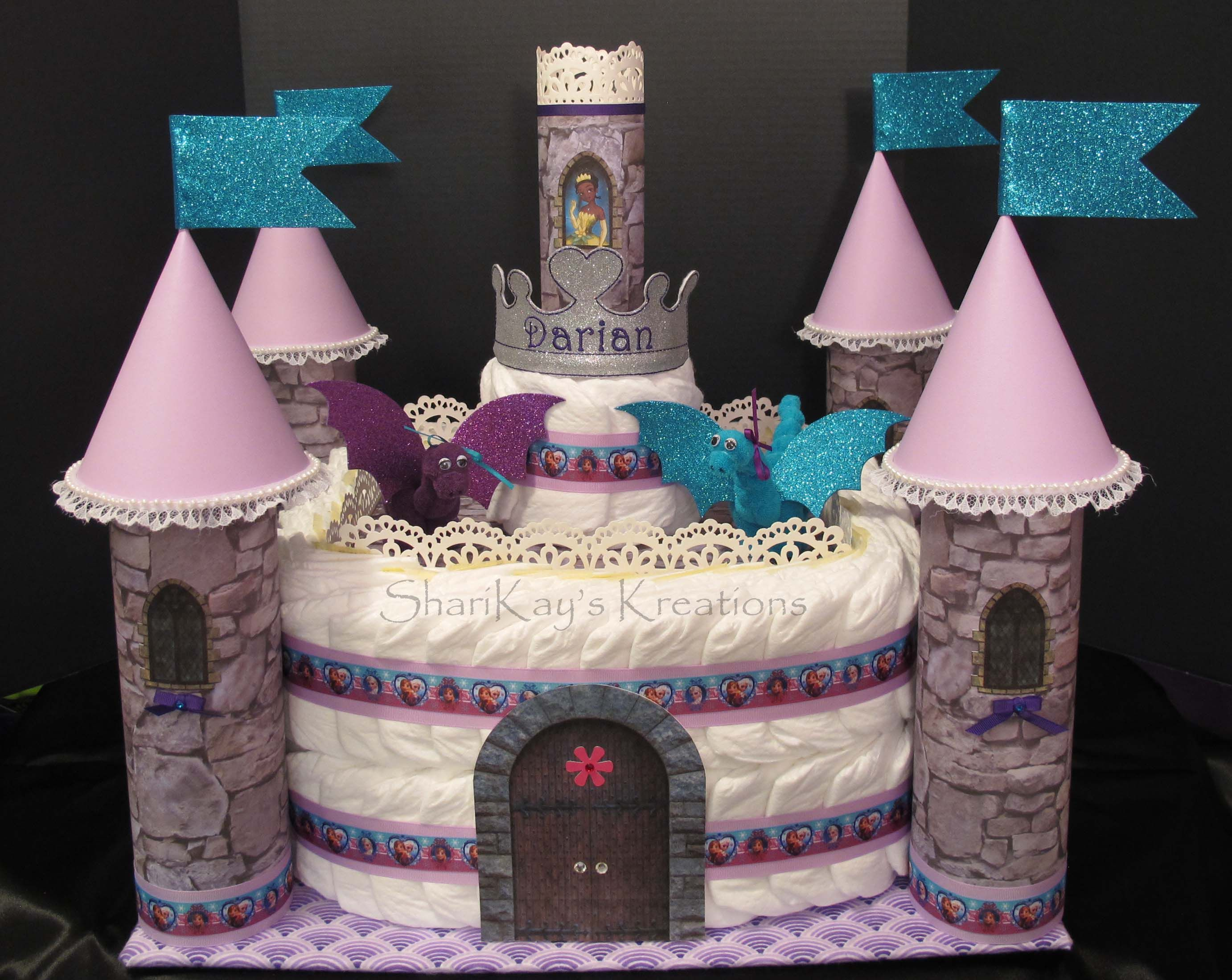 Princess Castle Diaper Cake With Washcloth Dragons Fit