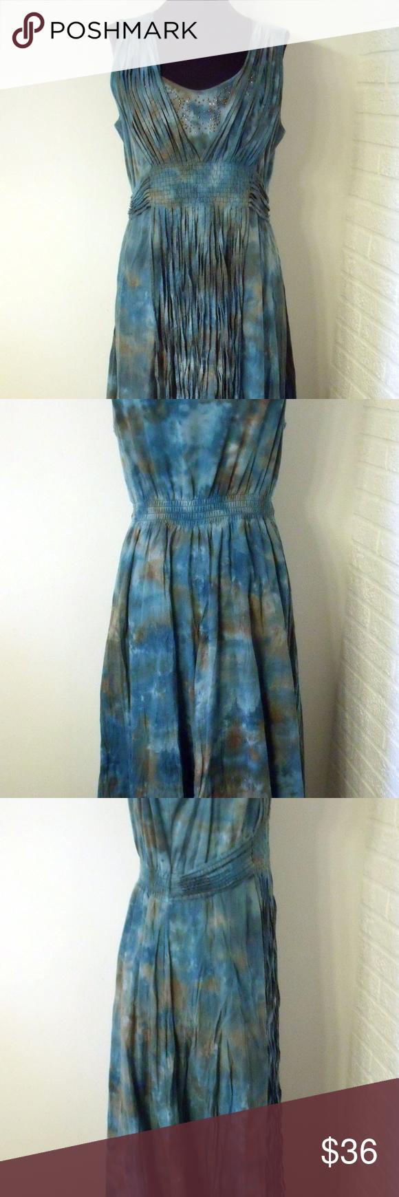 Reba Western Blue Brown Watercolor Fringe Dress Reba Western Blue ...
