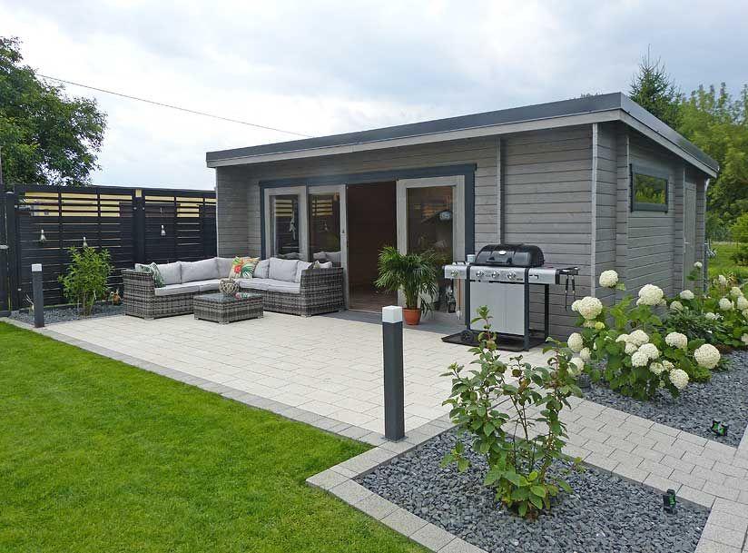 Aufbau Gartenhaus Java Harmonie in GrauWeiß Gartenhaus