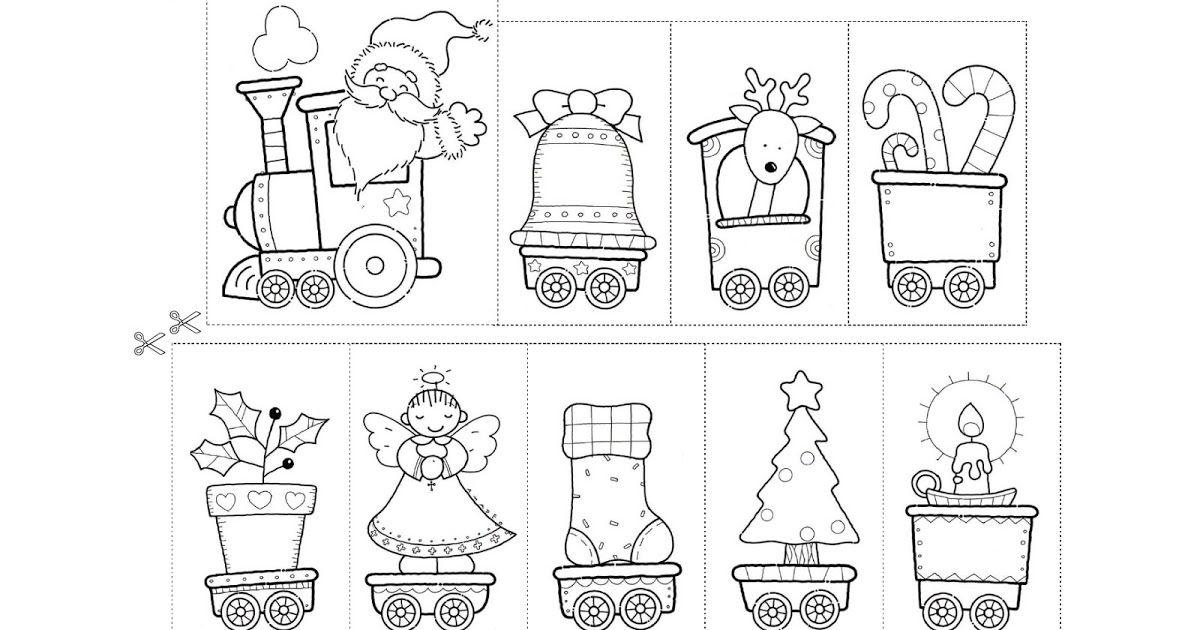 Fichas De Educacion Preescolar Tren De La Navidad Tren Con Dibujos Navidenos Preciosos Para Colorear Recortar Ordena Tren Navideno Tren De Navidad Navideno