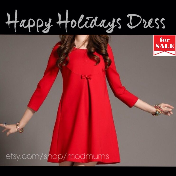 Christmas Holiday Maternity Dress in red or black. Lace detail on the back.   Shop etsy.com/shop/modmums  Share with @modmums on Instagram or Facebook for a giveaway this month!