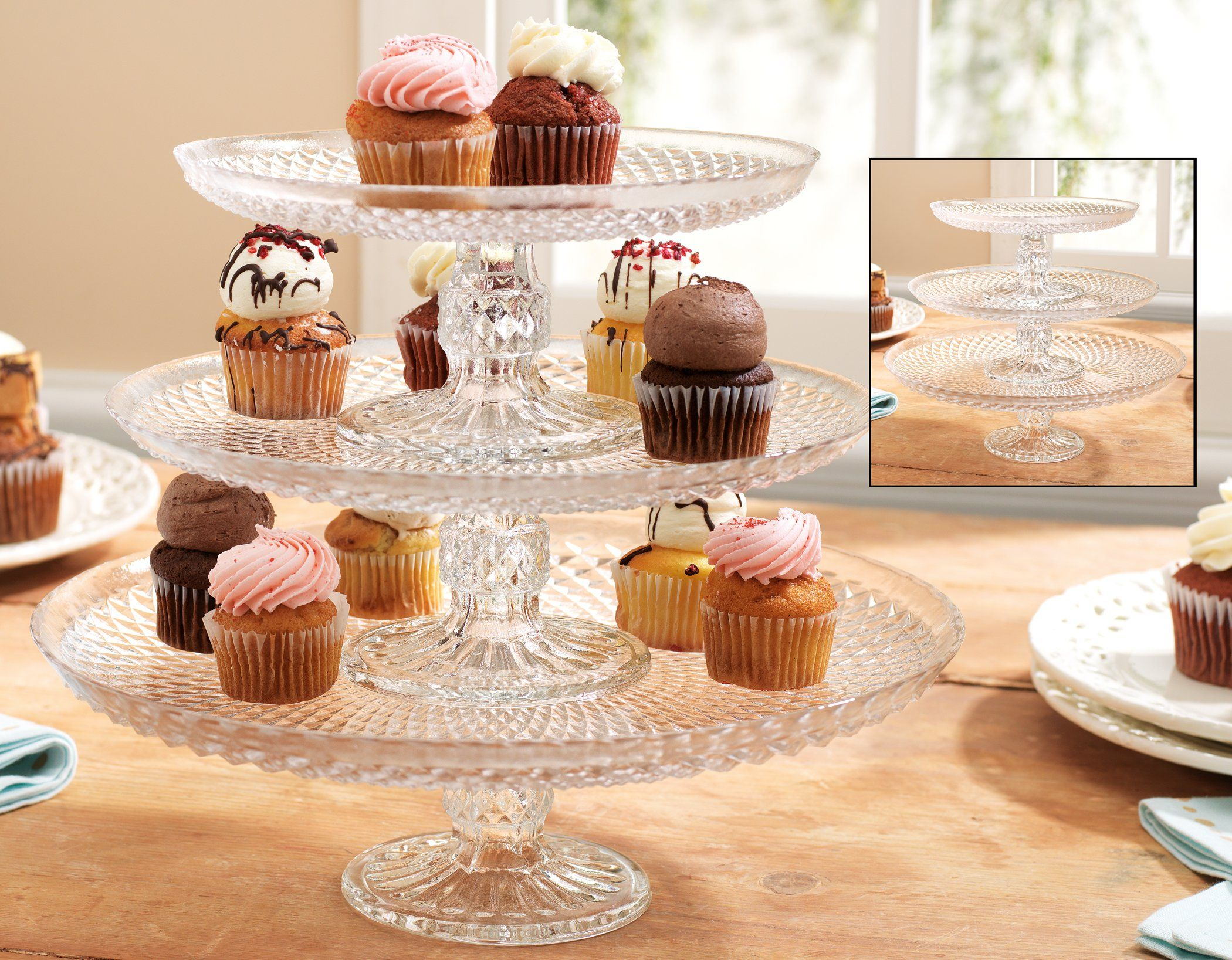 Amazon.com: Attractive Stackable Diamondcut Glass cupcake or cake stand - 3 tiered or individual Footed Cake Plate: Kitchen & Dining