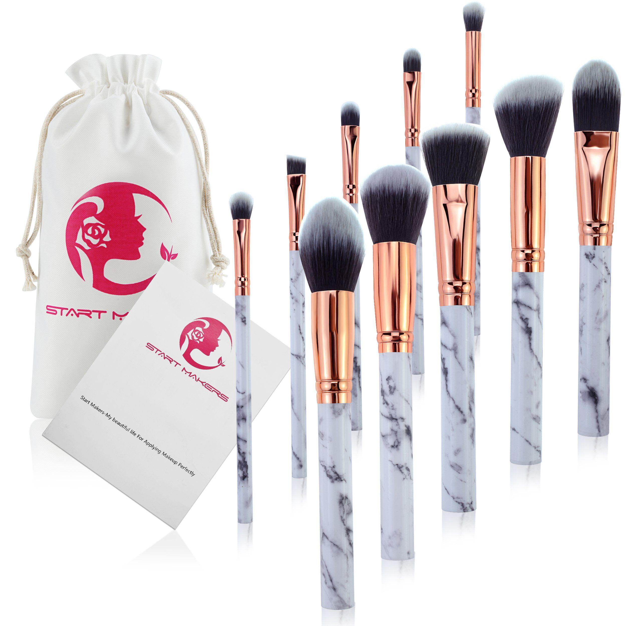 Makeup Brushes Start Makers 10 Pieces Marble Make Up Brushes Set Powder Blush Foundation Eye Shadow Eyebrow Bru Makeup Brush Set Eyebrow Brush Makeup Brushes