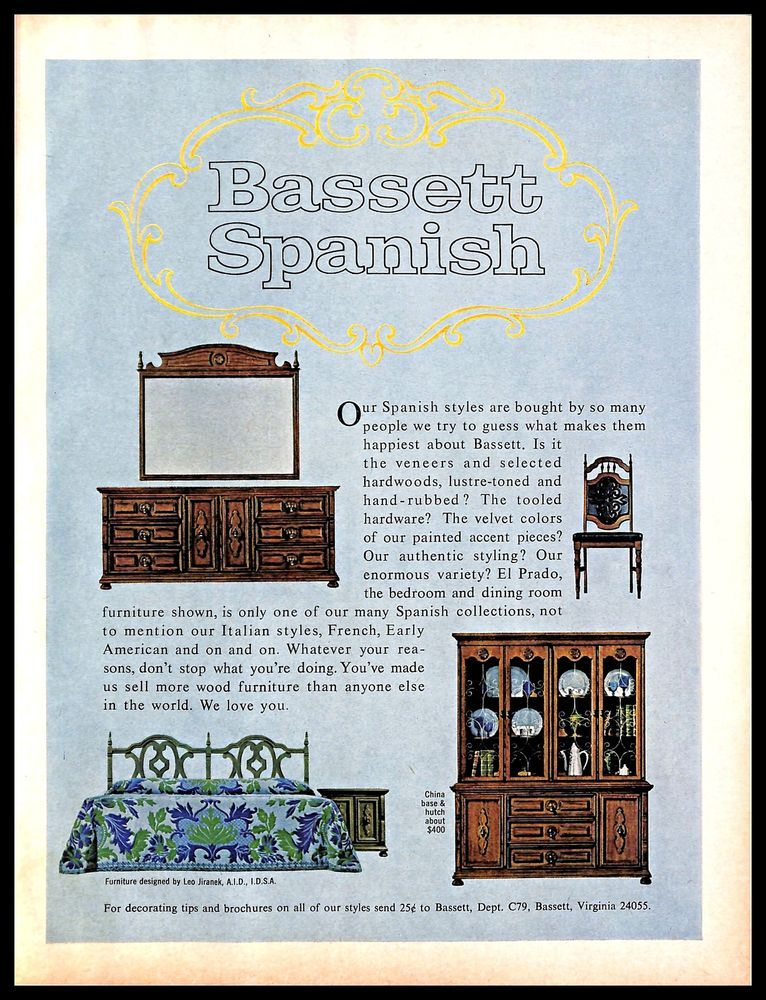 1967 Bassett Furniture Vintage Print Ad Wood Spanishstyle