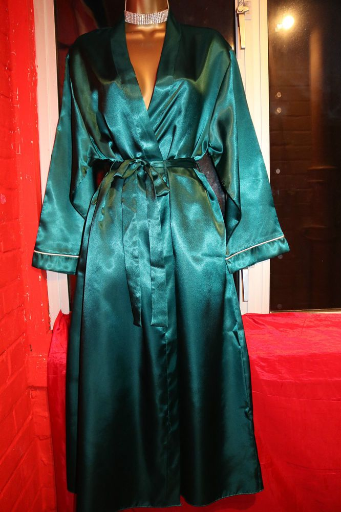 BHS Emerald Green Long Glossy Liquid Satin Nightie Dressing Gown ...