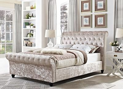 2019 4FT6 CHESTERFIELD UPHOLSTERED FABRIC BED IN CHAMPAGNE ...