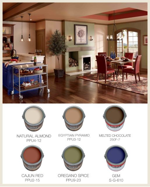 Highlight specific areas of the room with different wall for Different paint colors for kitchens