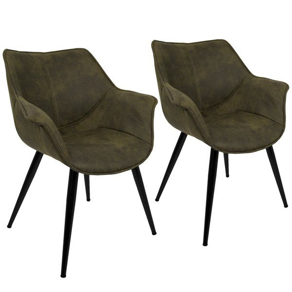 Lumisource Wrangler Rust Accent Chair Set Of 2 Ch Wrng: Wrangler 25.75-In X 27-In X 32.25-In Green
