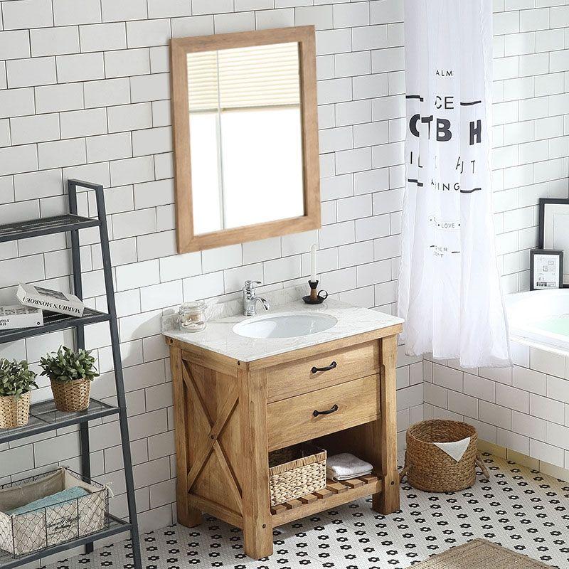 Farmhouse Rectangular Oak Marble Top Single Bathroom