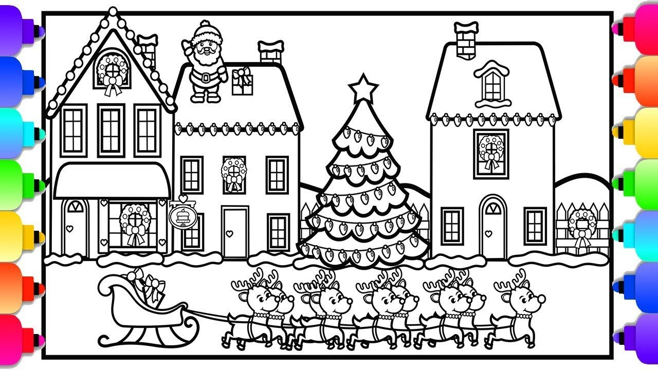 Visit Rainbowplayhouse Com To Print This Coloring Page How To Draw A Christmas Village Christm Coloring Pages Christmas Artwork Christmas Colors