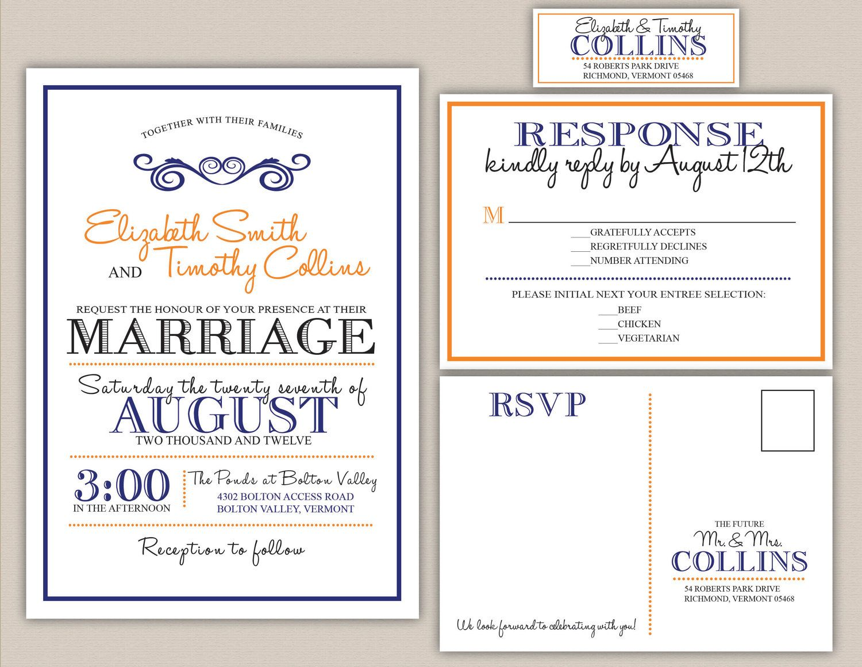 Orange And Green Wedding Invitations: Printable Wedding Invitation, RSVP And Address Label