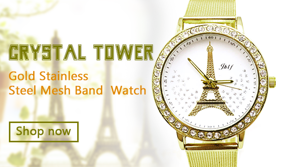 Women Ladies Crystal Tower Gold Stainless Steel Mesh Band Wrist Watch