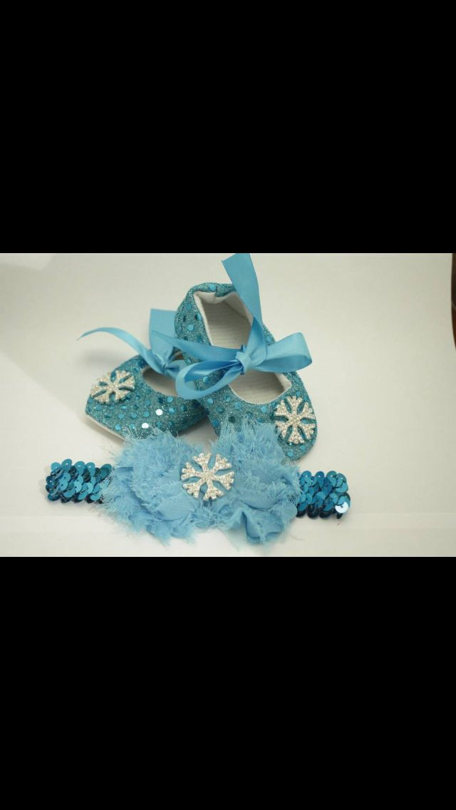 Frozen inspired baby shoes and matching headband. www.facebook.com/Bud.creations