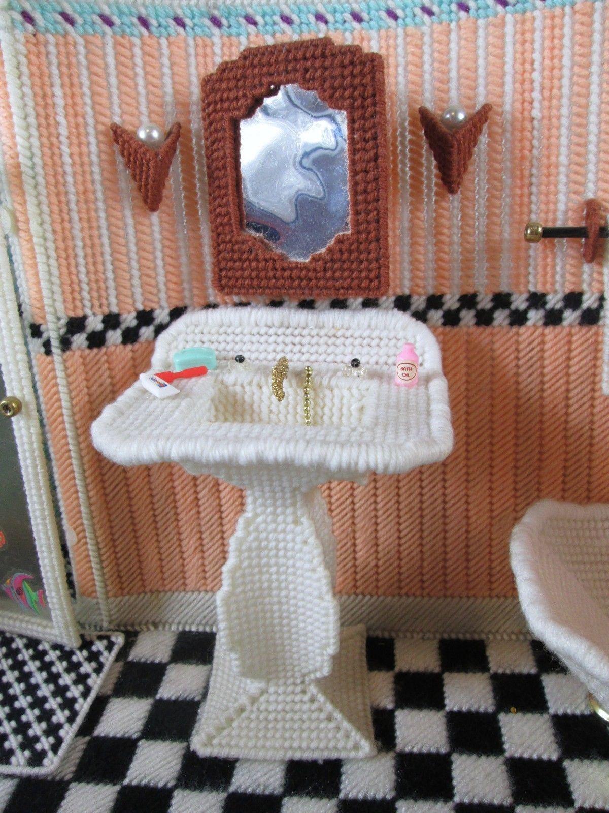 Plastic Canvas Barbie Doll BATHROOM Furniture Set ~ Completed ...