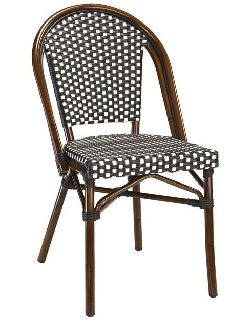 This Chair Offer Replica French Cafe Bistro Chair With Beauty Painted Dark  Mahogany Frame, And Upscale High Density All Weather Black U0026 White Weave.