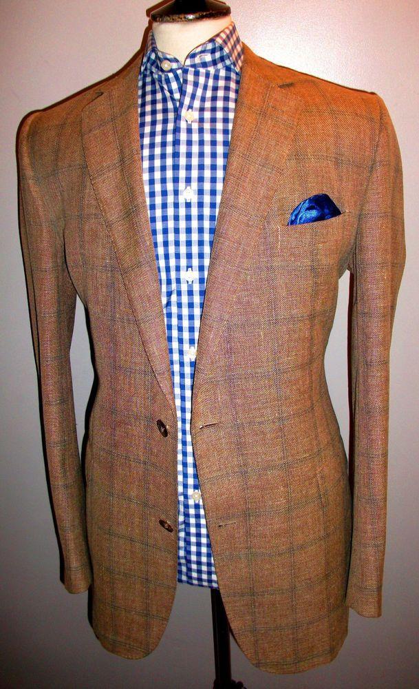 JAEGER Tweed CHECK Jacket Gold Blue 44 L WOOL LINEN