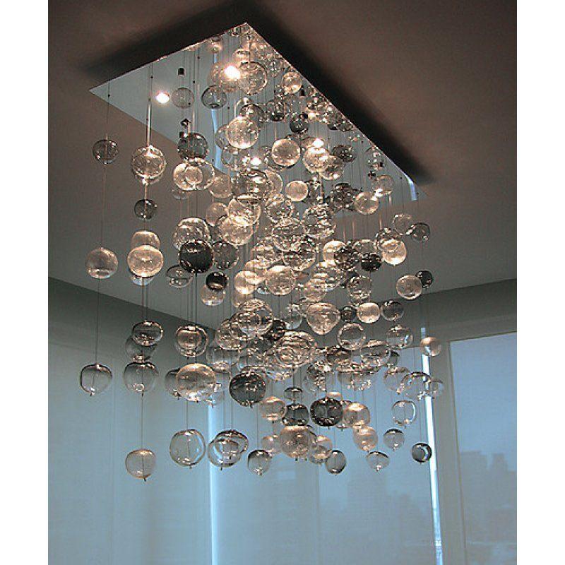 Alan Mizrahi Lighting Design Custom Rectangle Bubbles Flush Mount