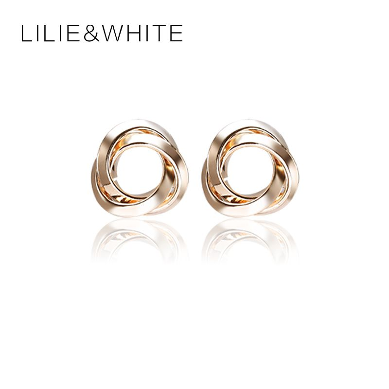 2017 Fashion Jewelry Cute Gold Plated Two Circle Knot Stud ...