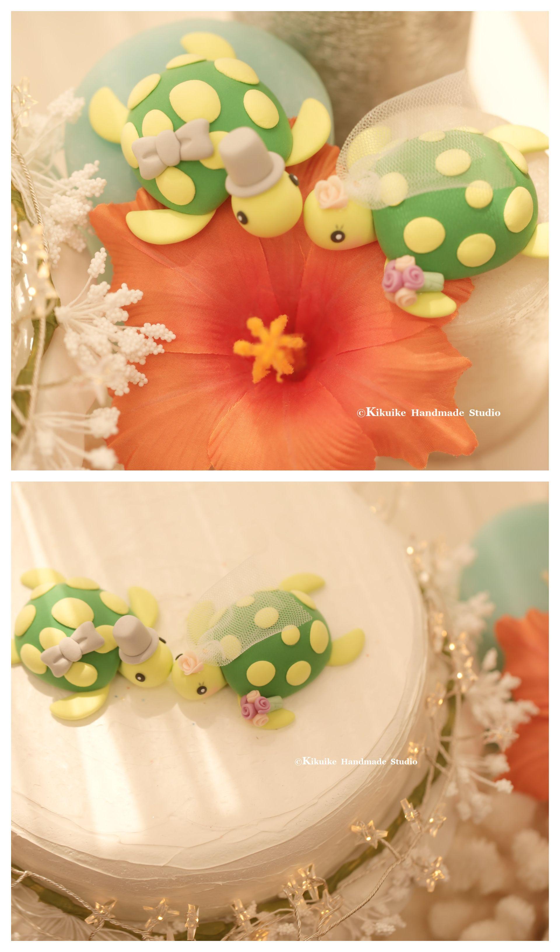 Turtles wedding cake topper for pair ocean animal cake topper