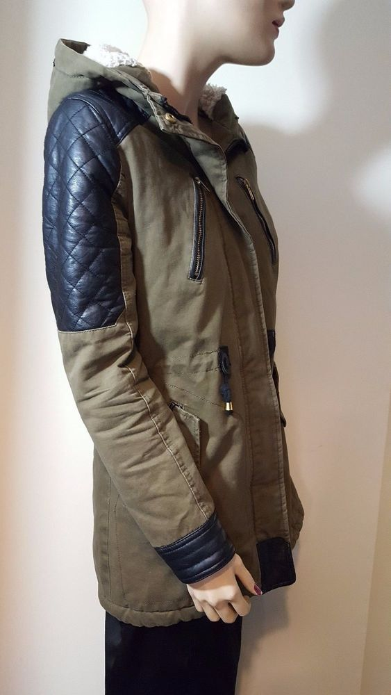 Atmosphere Khaki Green Fleece Winter Hood Hooded Parka Parker Coat ...