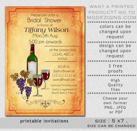 Printable Rustic Wine Tasting Bridal Shower Invitation