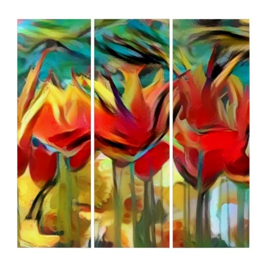 """Red abstract painted tulips, flowers, floral print triptych, acrylic canvas art print Dimensions: (3) 36"""" l x 12"""" w panels Printed on sturdy, water-resistant Grade A acrylic Museum quality is guaranteed to make an impression  Full-color vibrant printing, perfect for photographs and artwork 3 separate panels, each mounted separately  Fitted with French cleat backings for easy and secure hanging #art #prints #zazzle #flowers"""