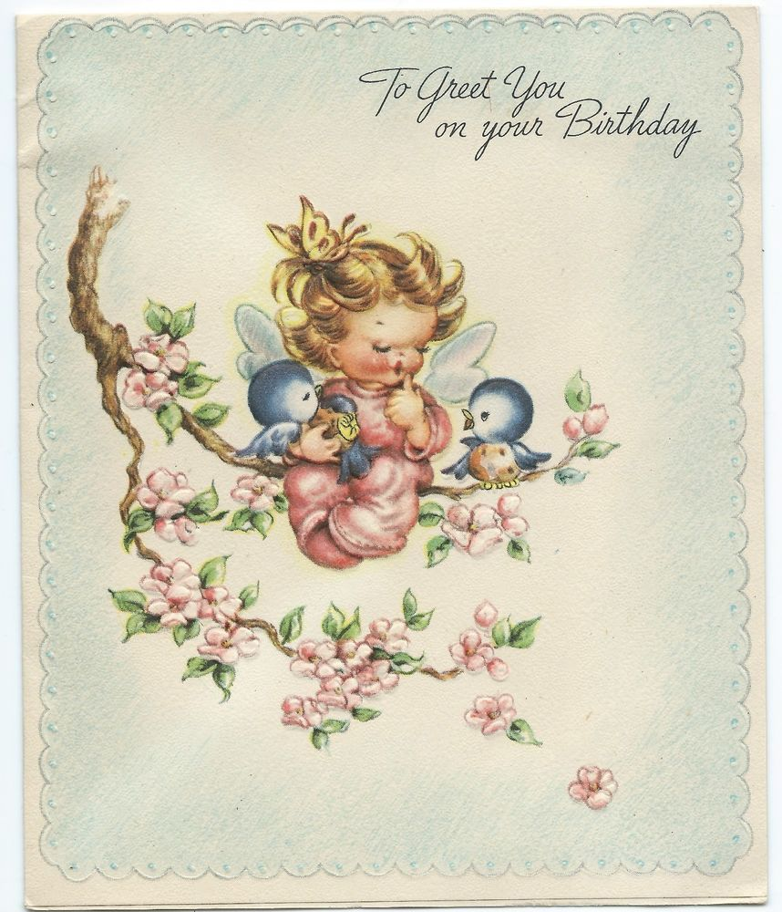 VTG Birthday Card Little Girl Wings Embossed American