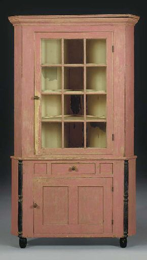 Christie S Large Image Primitive Painted Furniture Antique Cupboard Corner Cupboard