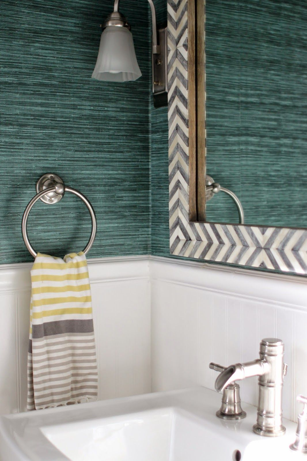 Bathroom makeover with Spoonflower wallpaper. Grass cloth