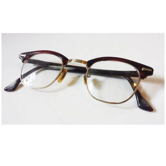 26b9e01bc0 Rare Vintage Dark Tortoiseshell SHURON Ronsir Browline Men s 50s Half Frame  Eyewear Horn Rim Glasses    Burgundy Brown Mid Century Glasses