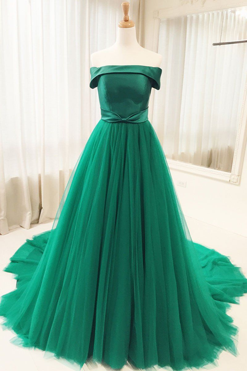Simple green tulle long prom dress green evening dress green