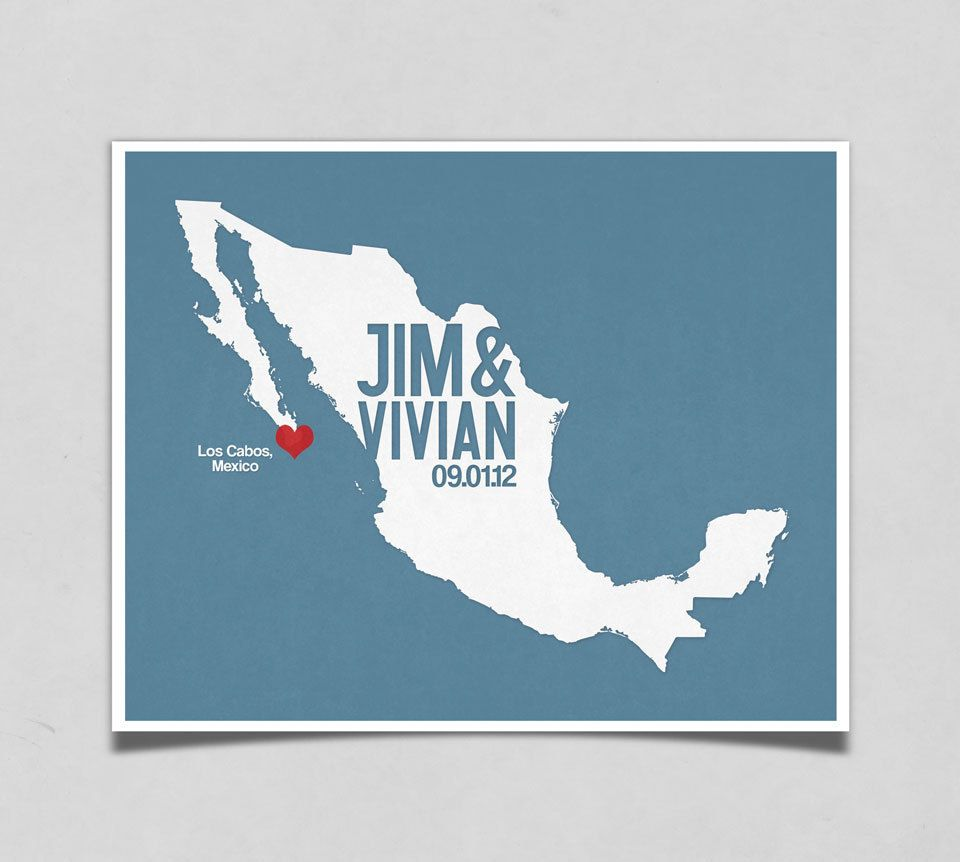 Mexico Wedding Gift Personalized International Map Custom Destination Date Location City And