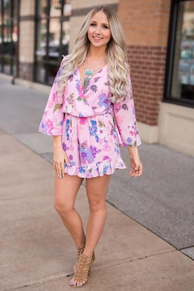 1c75e25d0eb Here Comes The Fun Bell Sleeve Ruffle Detail Surplice Floral Romper (Pink)