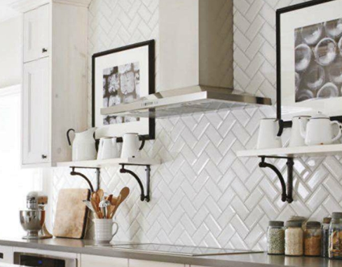 White herringbone subway tile for kitchen splashback/feature wall ...