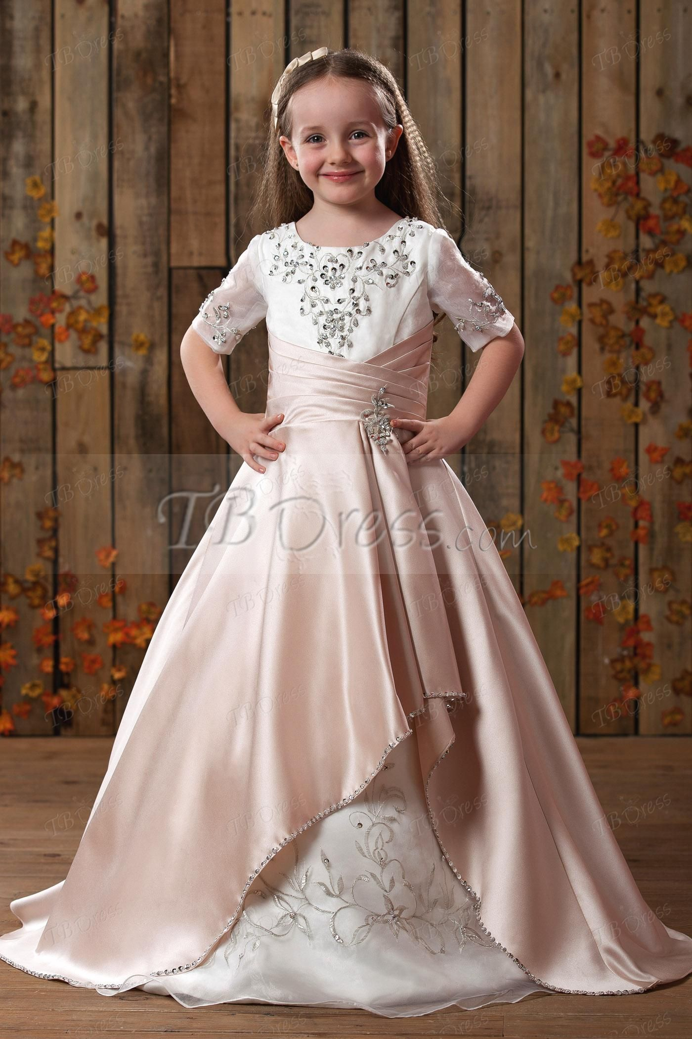 Princess Scoop Embroidery Applique Flower Girls Dress | Embroidery ...