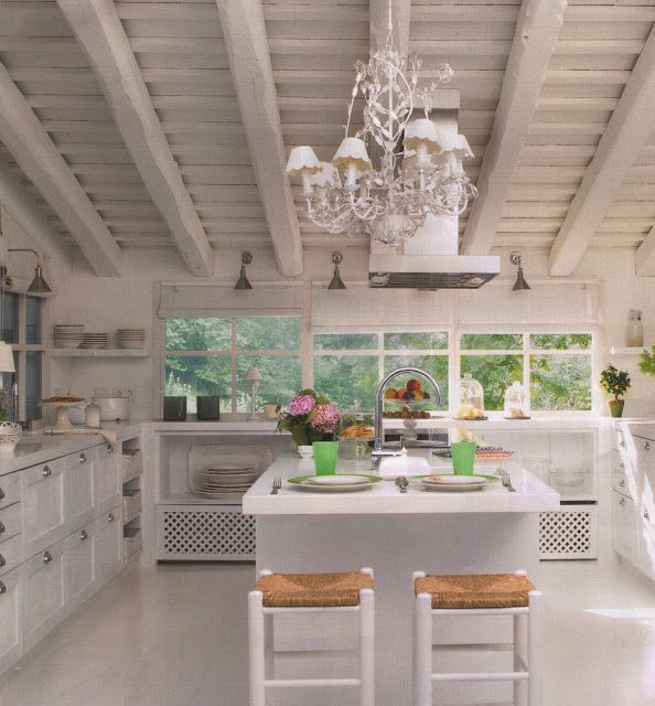 Super wonderful white kitchen, large beams, slanted roof, center ...
