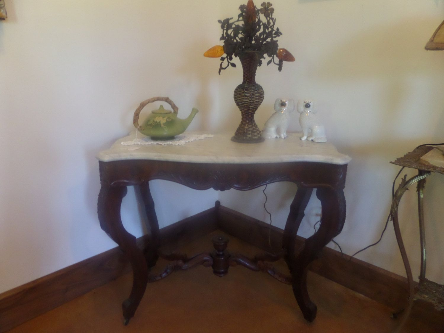 Antique walnut marble turtle top tablectorian vintage english items similar to antique walnut marble turtle top tablectorian vintage english parlor foyer carved wood french provincial sofa table sideboard chair on geotapseo Gallery