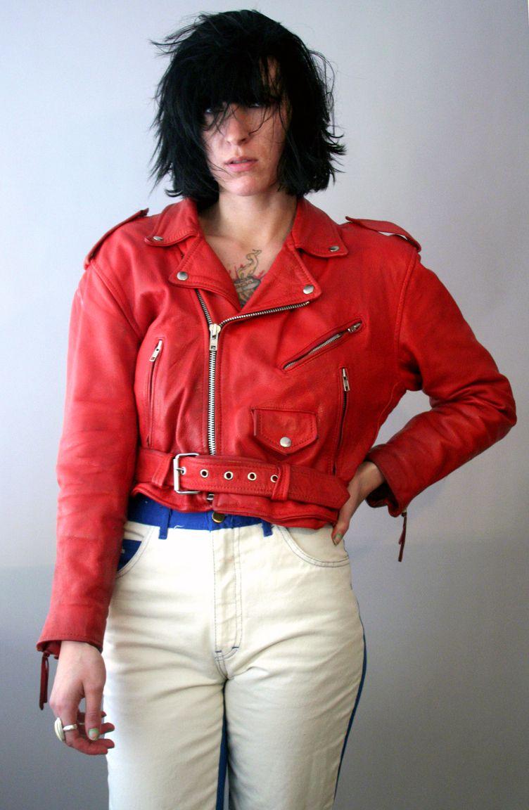 Crimson Red Punk 1980s Motorcycle Jacket Jackets