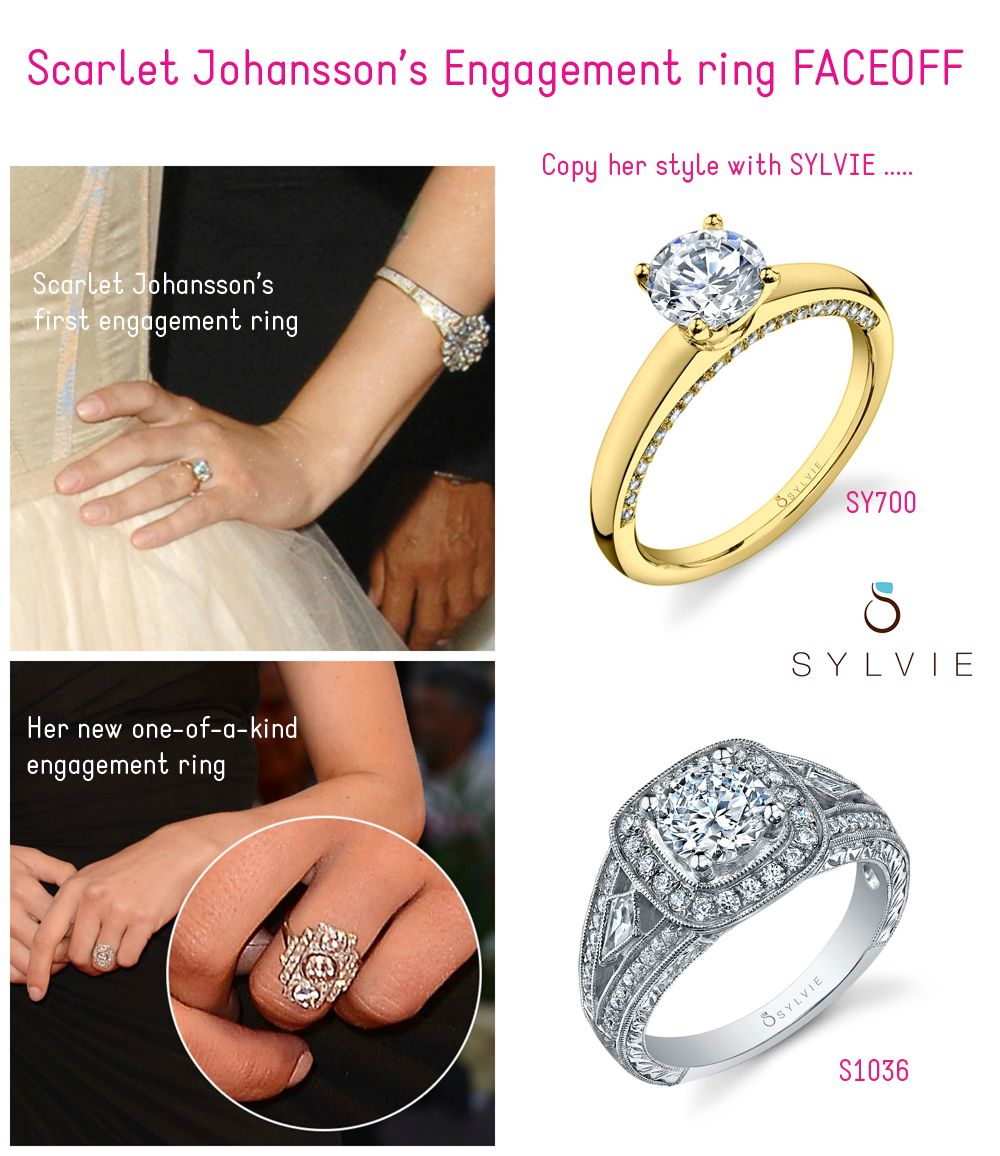 69f7dce74 ENGAGEMENT RING FACE-OFF Scarlet Johansson's first engagement ring goes up  against her new one. Which one would you prefer?