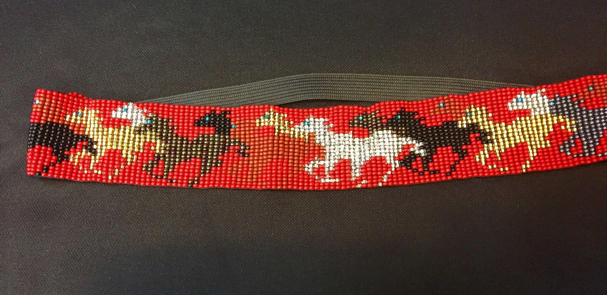 Beaded Headband Running Horses HB101