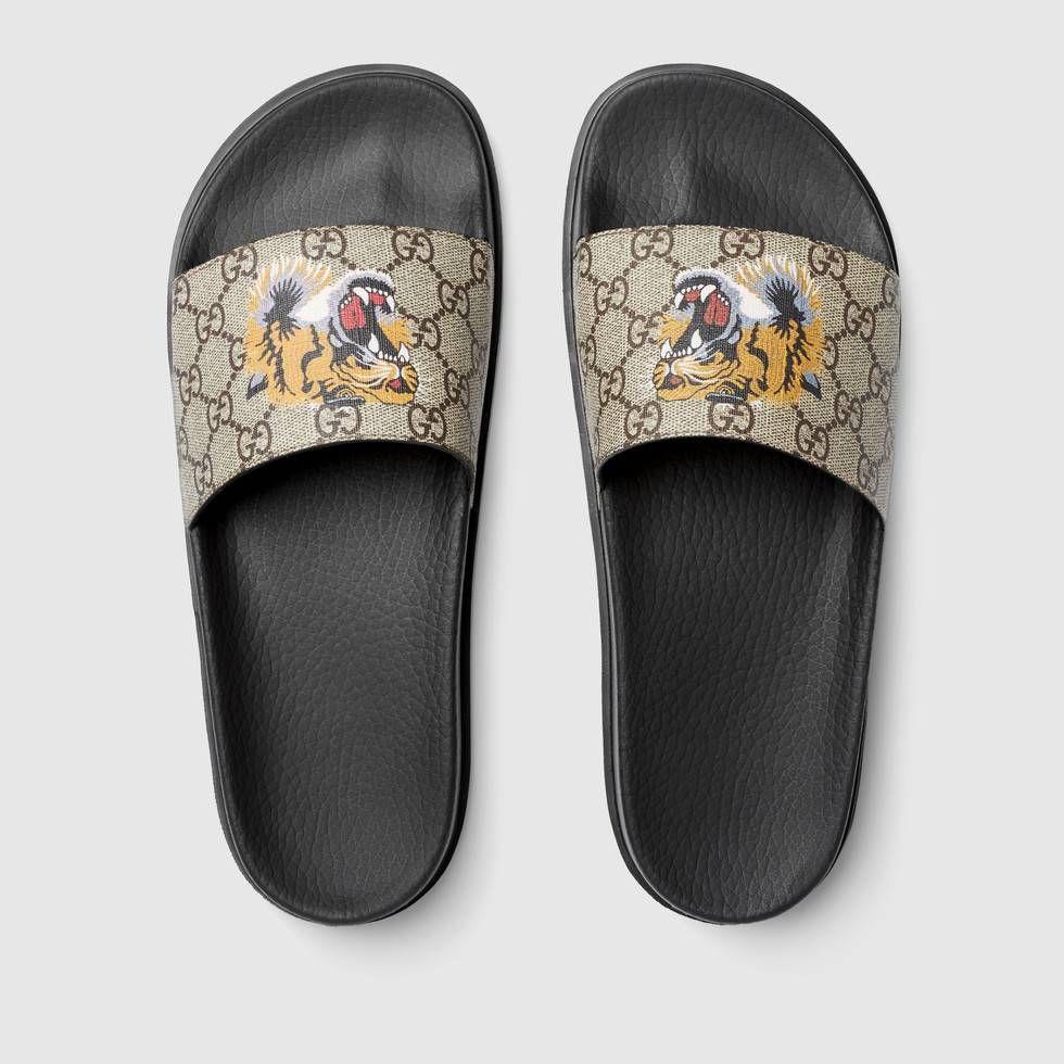 GG Supreme tiger slide sandal by Gucci