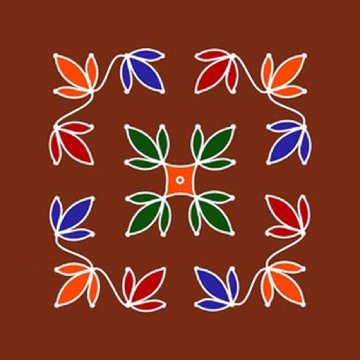 Easy Flower Dot Rangoli Design Rangoli Designs Pinterest Rangoli Designs And Diwali Rangoli