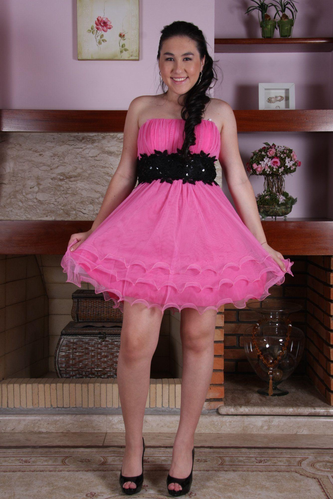 Vestido de rosa com preto